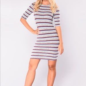 Cabin in the Woods Ribbed Striped Mini Dress NWT